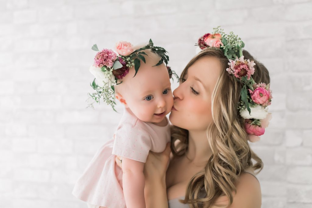 edmonton beautiful mother and baby floral crown photoshoot