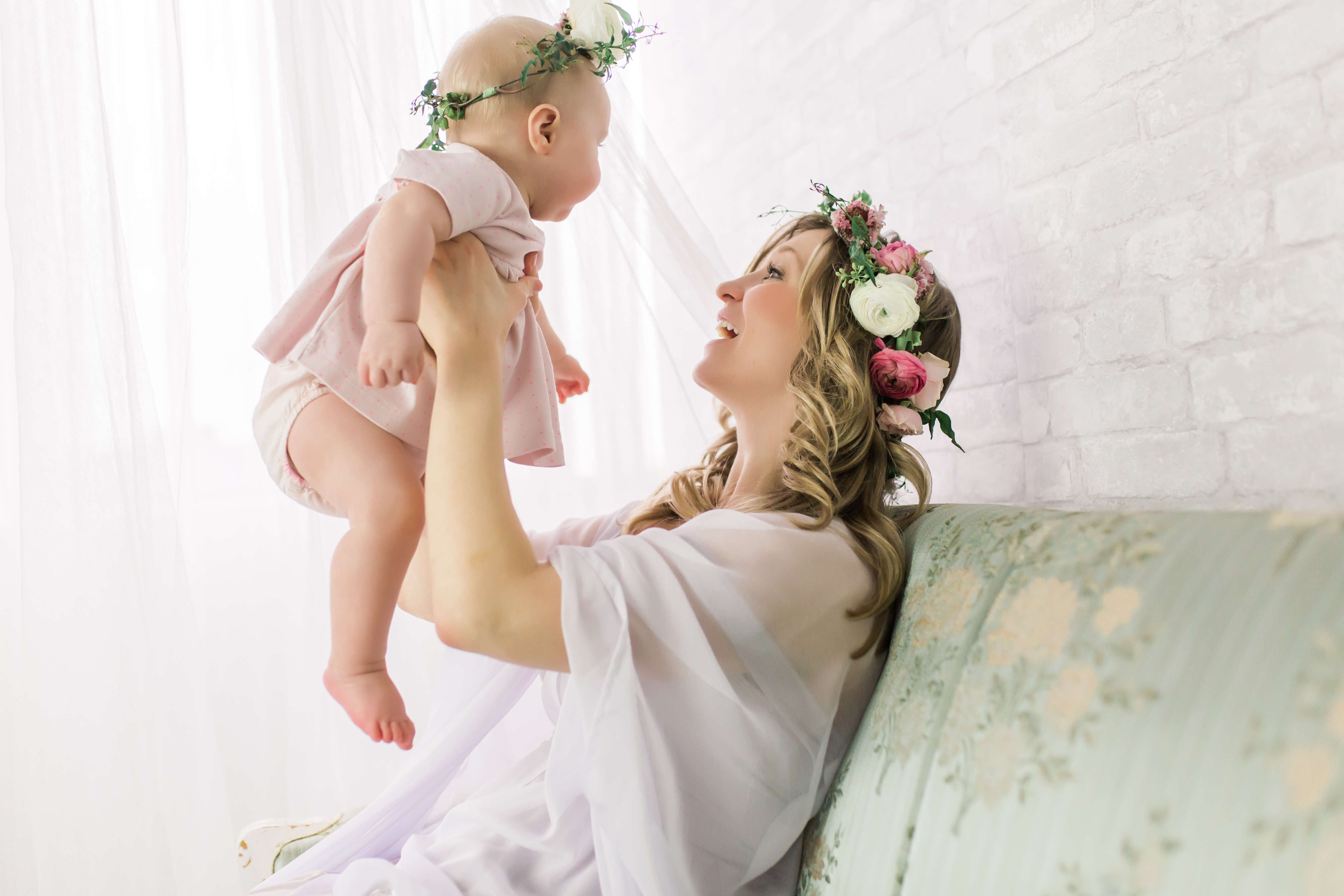 beautiful mother and baby floral crown photoshoot